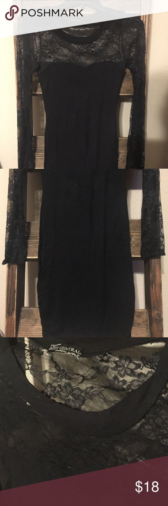 "Body Central Black Sheer Lace Top Fancy Dress Body Central Women's Small Black Sheer Lace Top, Dress. 96% rayon and 4% spandex. Used but in good condition. No rips, stains or tears. Bust 14"" and 34"" in length. Long sleeves. Body Central Dresses Long Sleeve"