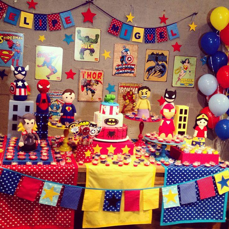 Festa super heróis - decoração mini mimo festas
