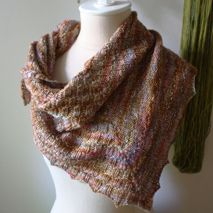 Cheques Checkered Rib Shawlette Knitting Pattern | Phydeaux Designs