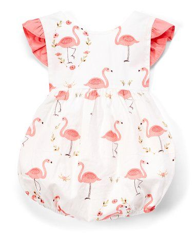 8f29f4174ae Look what I found on  zulily! White   Pink Flamingo Ruffle Bubble ...