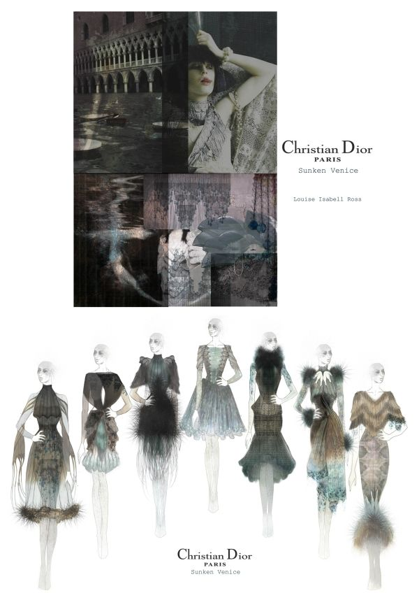 Fashion Portfolio - fashion design drawings for Christian Dior project - fashion illustration; fashion sketchbook // Louise Isabell Ross