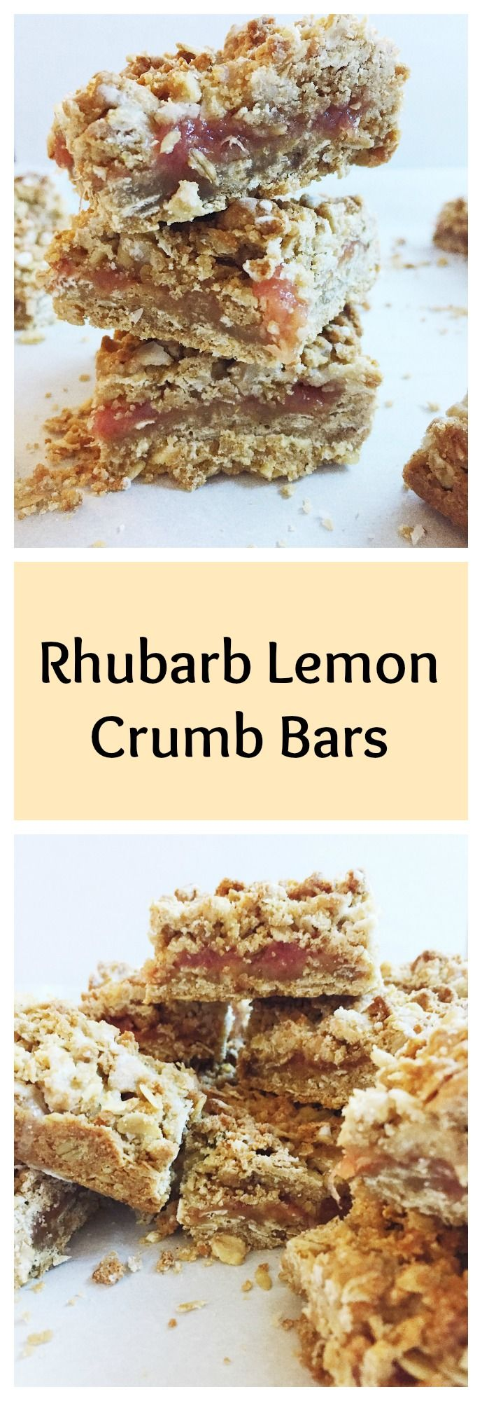 Ever want a different way to bake with rhubarb? These rhubarb lemon crumb bars feature a tart rhubarb jam sandwiched between two layers of buttery oat crumb crust and are topped off with a lemony glaze. Always a spring treat, these crumb bars are perfect for any occasion!