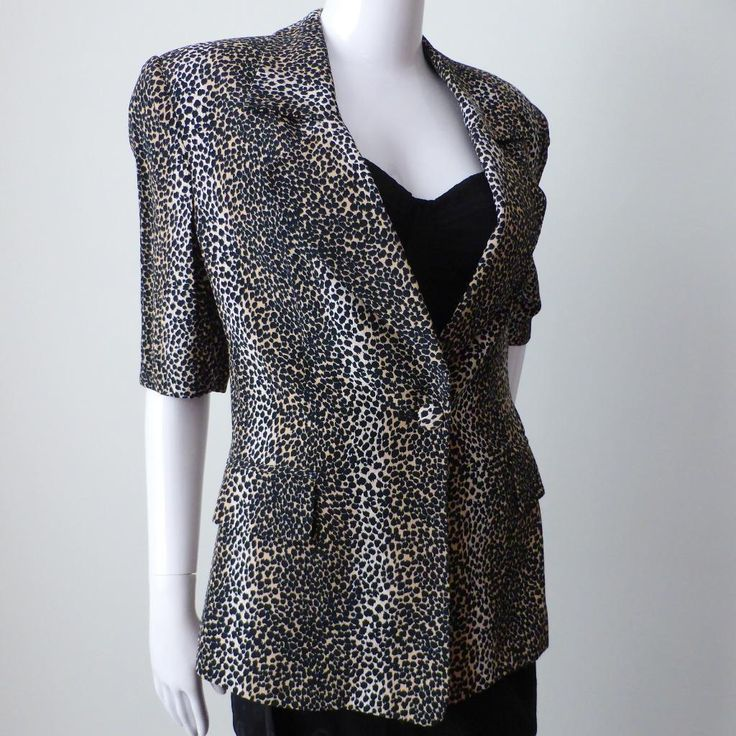 CARLA ZAMPATTI Women's Jacket Animal Print Short Sleeve