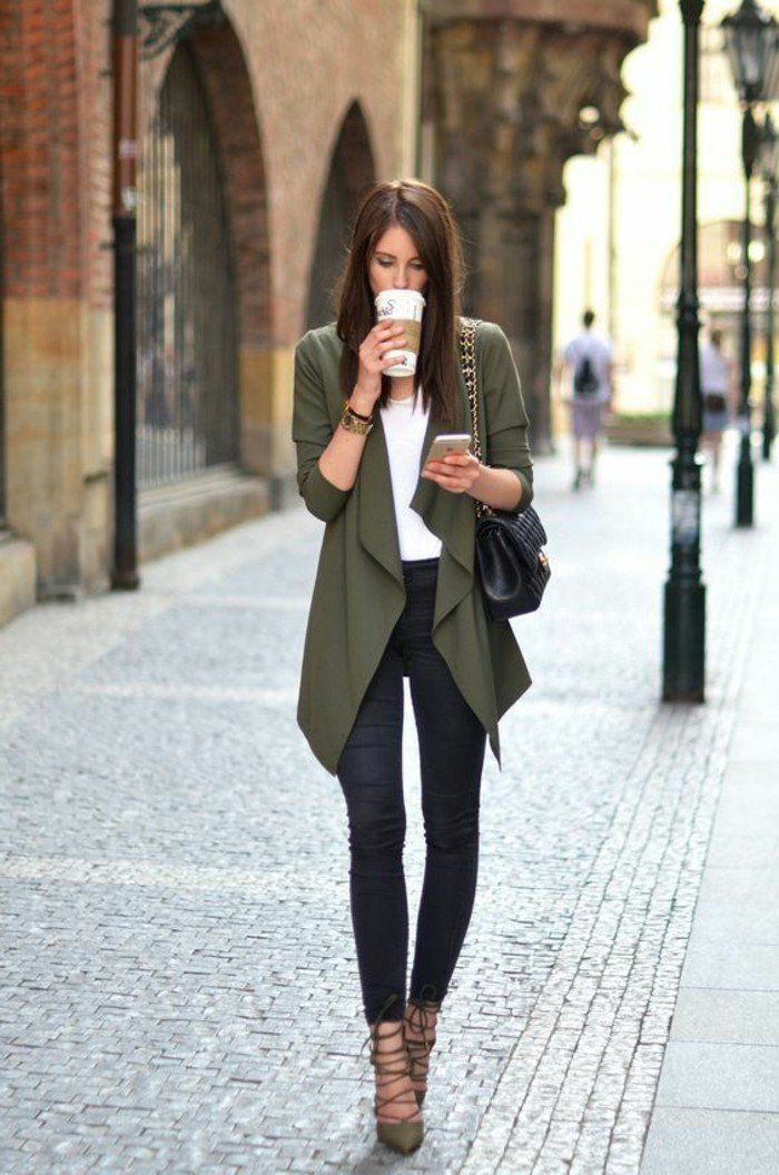 Amazing work outfit with a vest and sandals in color top