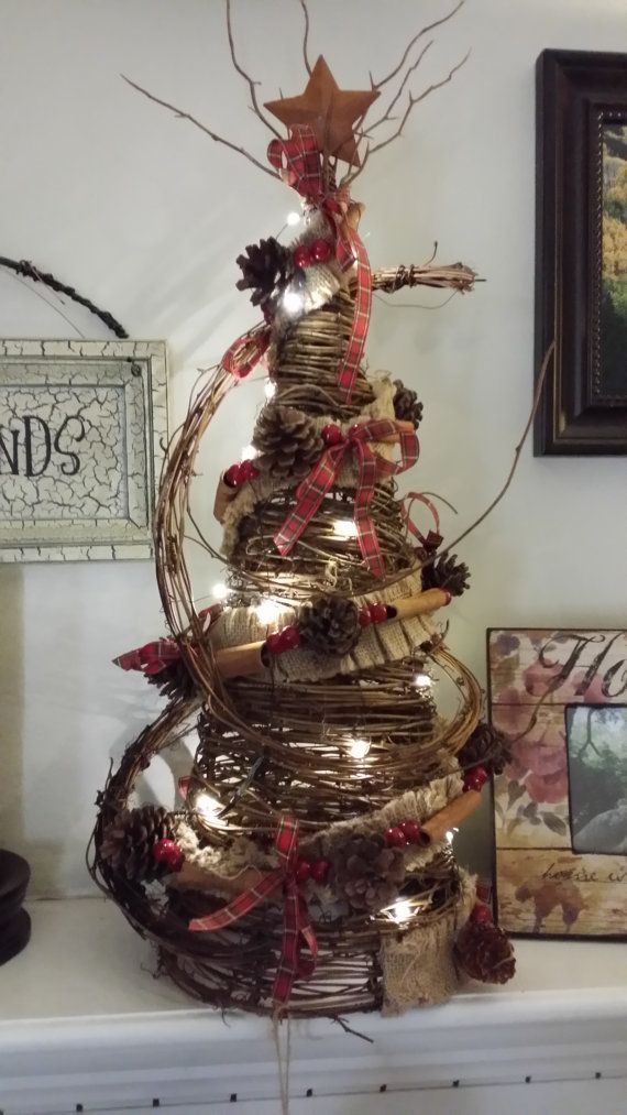Rustic Primitive Mini Grapevine Christmas Tree, Pine Cone Garland Tree, LIGHTED Grapevine Christmas Tree 24""