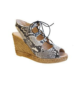 Eric Michael Gossip Wedge in Snake and Black Leather at Traverse City and Petoskey Michigan Stores plus frostshoes.com