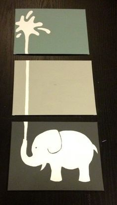 Three piece elephant painting by ApricotInc on Etsy