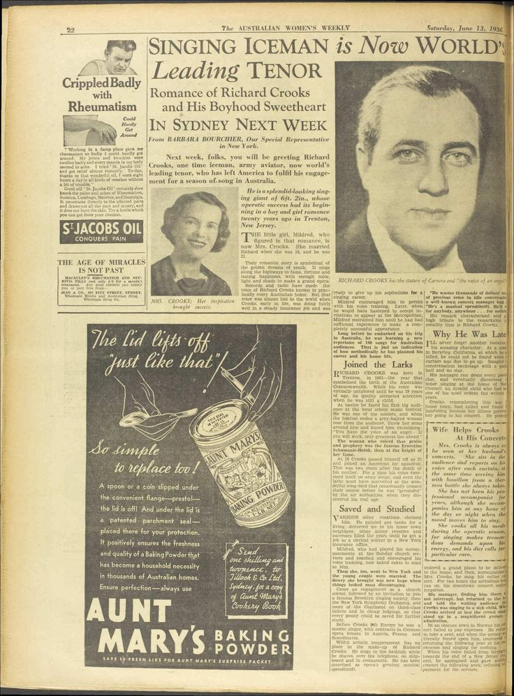 Richard Crooks. His tour of Australia received extensive coverage. 13 Jun 1936 - The Australian Women's Weekly.