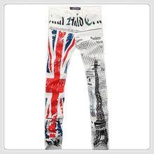 Di modo degli uomini dei jeans di stampa bandiera inglese torre eiffel colorato disegno etero roccia jeans pantaloni denim tuta per gli uomini(China (Mainland))