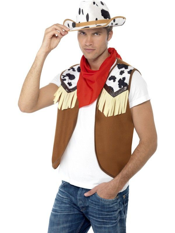 Instant Wild West Cowboy Mens Costume Accessory Kit. Transform yourself into a western cowbow in an instant with this adult men's Instant Wild West fancy dress costume kit, included is a Waistcoat which features tassels on the chest, Neck Scarf and cow print hat! Yeehaa!