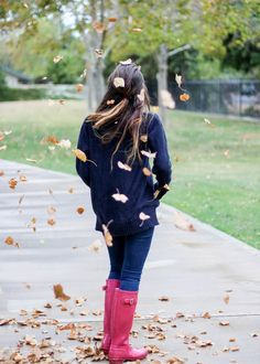 Rainy Day Outfit Inspiration Bright Pink Hunter Boots with Navy Knit Sweater and Ily Mix Statement Necklace from Moo's Musing Cold Weather Fall Autumn Outfit