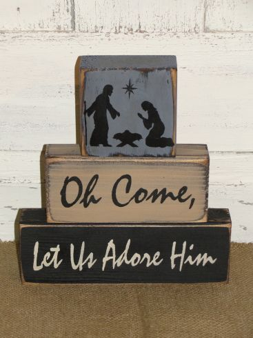Oh Come Let Us Adore Him Nativity Christmas Block Set