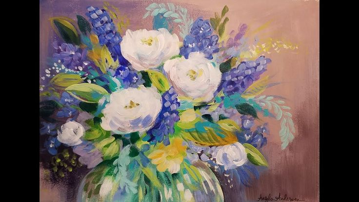 Impressionist Abstract Flowers Acrylic Painting Tutorial LIVE Beginner S...