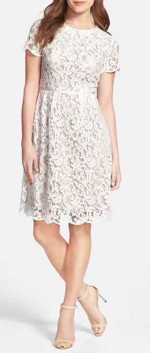White Scalloped lace dress, just add red heels and blue necklace for a festive 4th of July party