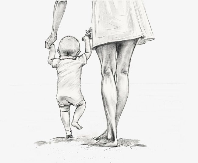 Transparent mother holding a child walking hand-drawn sketch PNG Format Image With Size 2439*2001 Preview Page