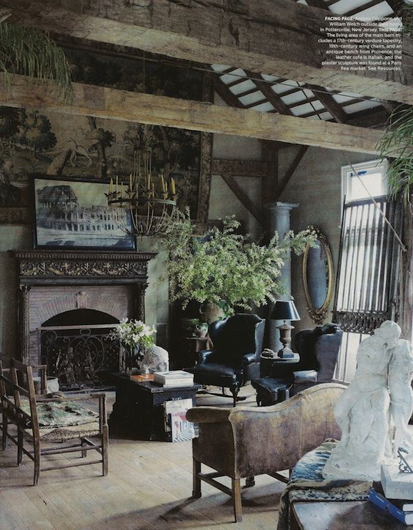 "The ""sunroom"" for a gothic house? Love the exposed wood beams."