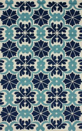 Rugs USA Fergana Royal Tiles Trellis Blue Rug