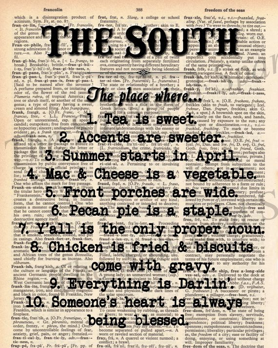 Vintage Dictionary The South Print  plus by TheSalvagedSparrow, $8.00
