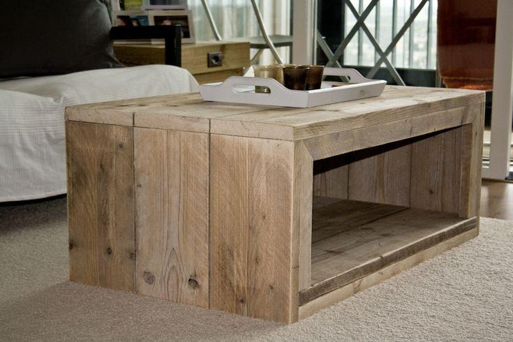 Moderne steigerhouten salontafel, in elke gewenste maat vanaf € 269,- Steigerhouten meubelen leveren we binnen twee weken thuis!
