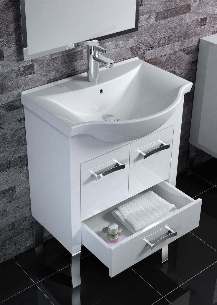 Elegancka szafka łazienkowa i piękna umywalka