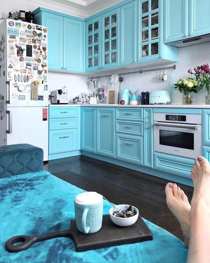 кухня бирюзовая с серым фото сведений