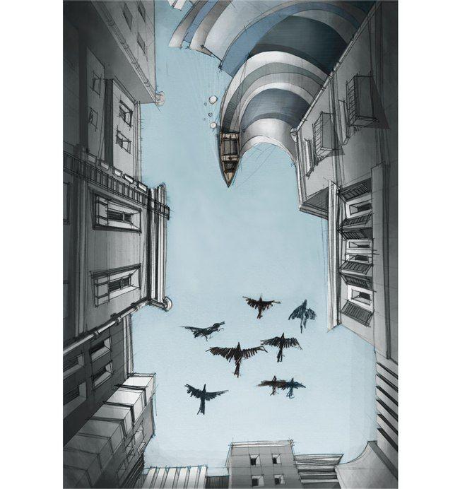 #illustration #patio #graphics  #birds #sky