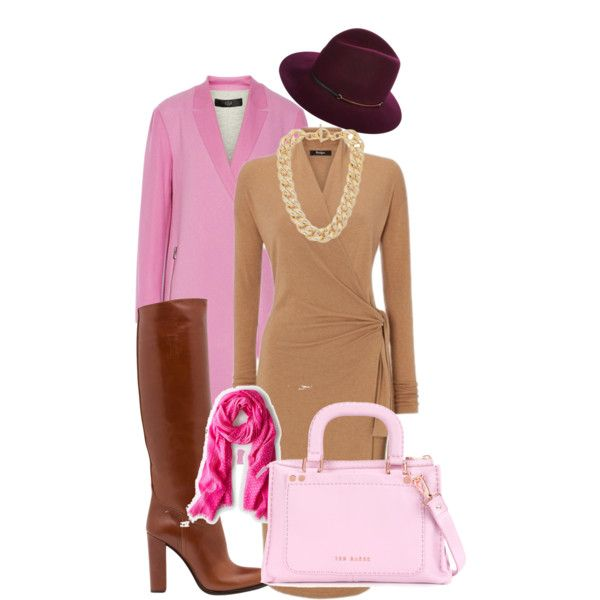 """Pink coat"" by gelykou on Polyvore"