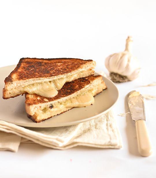 Thinking of dinner... Roasted Garlic & Gruyere Cheese Toasties. #noms