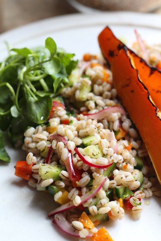 This pearl barley salad is a delicious way to get in a host of veggies and is a great way to use up whatever you have in the fridge. The simple to make dressing wraps the whole thing in herby, tangy awesomeness.
