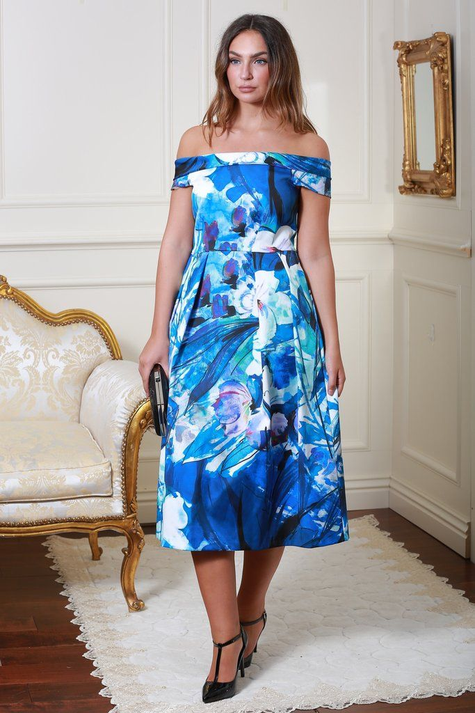 Riley Bardot Flower Print Dress