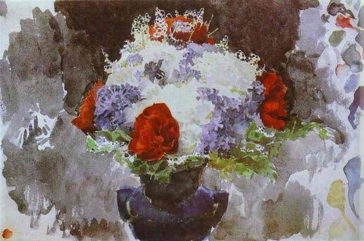Fleurs dans un vase bleu, aquarelle de Mikhail Vrubel (1856-1910, Russia)