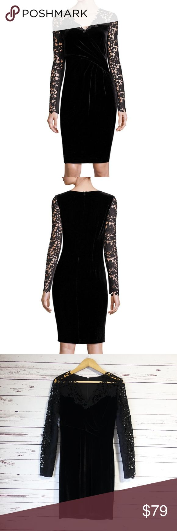 """Elie Tahari Blakely Velvet & Lace Dress Size 2 Sheer lace sleeves define ruched velvet dress V-neck Long sleeves Ruched detail Concealed back zip closure About 39"""" from shoulder to hem Rayon/silk Dry clean New with tags #131/1000. 14oz. Elie Tahari Dresses"""