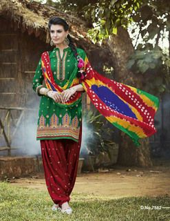 Awesome Green Red Pure Cotton  Salwar Kameez1599