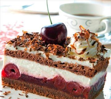 Zobrazit detail - Recept - Čokoládovo - čerešňové rezy