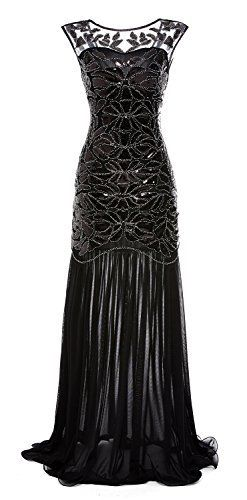 gastbypty Women's 1920s Black Sequin Gatsby Maxi Long Evening Prom Dress