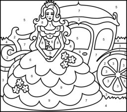 Princesses Coloring Pages - There are multiple copies of the same picture with various levels of difficulty.