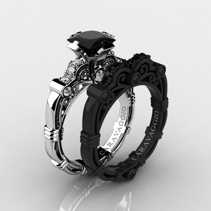 Cool Art Masters Caravaggio Black Gold Ct Princess Black and White Diamond Engagement Ring Wedding Band Set