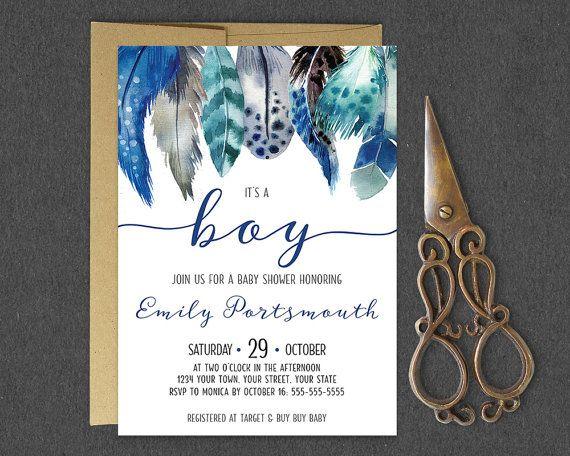 It's a Boy Baby Shower Invitation / Boho Feather Boy Baby
