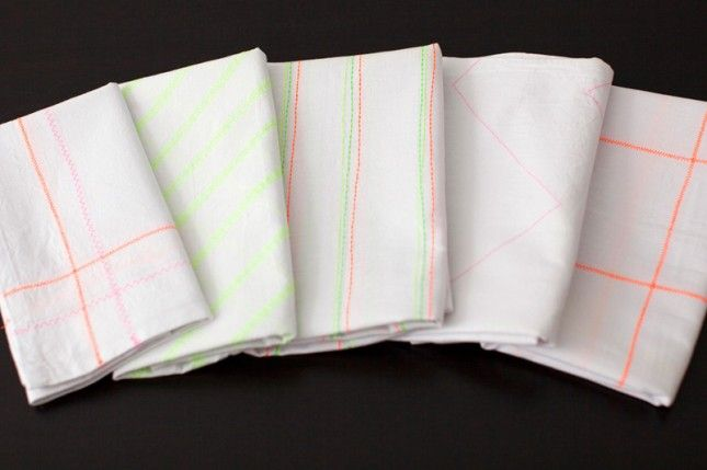 DIY Neon Patterned Tea Towels via Brit + Co.