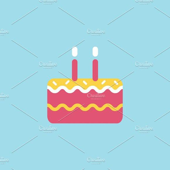 Illustration Of Birthday Cake Icon Icons