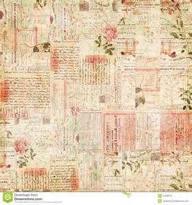 ... vintage de coisas efêmeras de texto e de flores botânicas do vintage