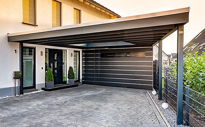 konisch laufendes carport hpl mit abstellraum mykene. Black Bedroom Furniture Sets. Home Design Ideas