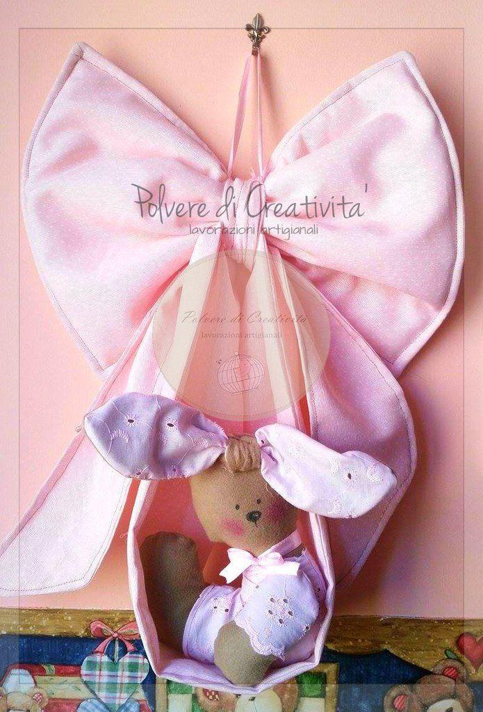 Fiocco Nascita Coniglietta , by Polvere di Creatività - lavorazioni artigianali, 40,00 € su misshobby.com