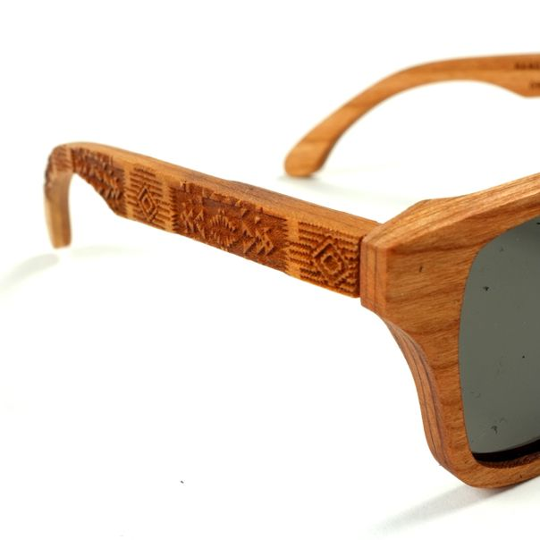 Laser etched details on new Shwood x Pendleton sunglasses to protect your eyes!