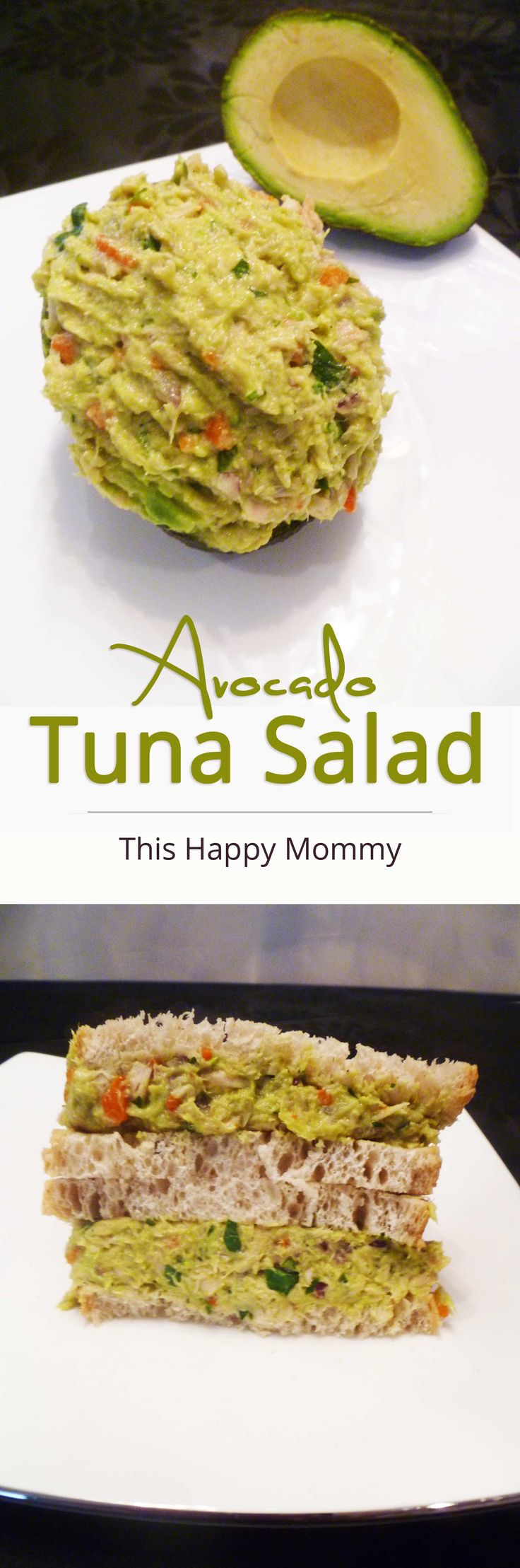 Guacamole inspired tuna salad made with creamy avocados, red onions, lime, cilantro and roasted red peppers. | thishappymommy.com