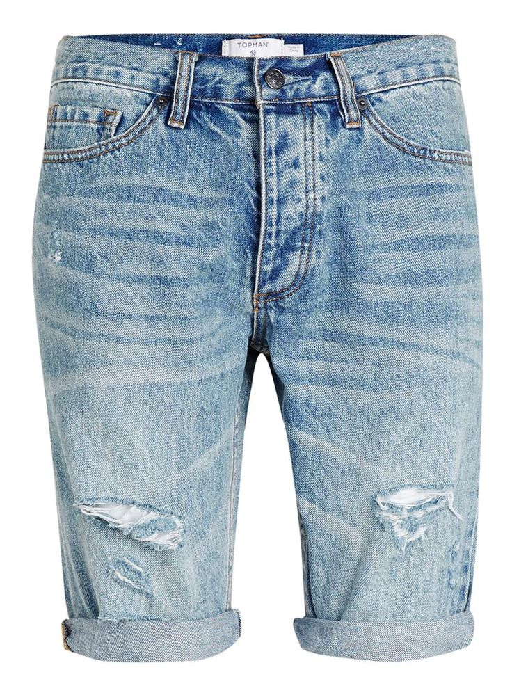 Mid Denim Rip Skinny Shorts - Men's Shorts - Clothing - TOPMAN USA