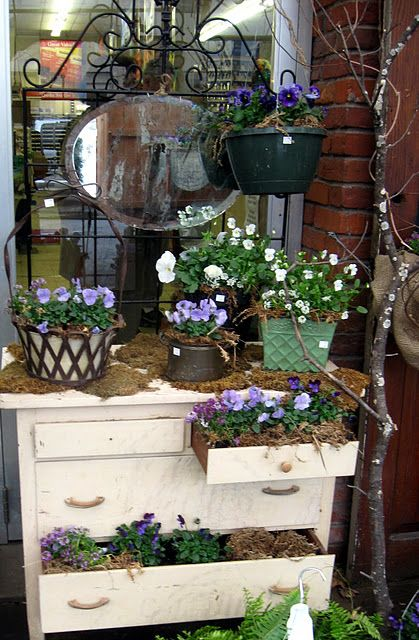 Pretty display for garden center or florist - white dresser with tall ornate iron back with horizonal oval mirror, flowering plant in round black pot hanging from tree limb, flowering plants in vintage pots on dresser top, some dresser drawers open and willed with moss and flowering plants in pots - charming