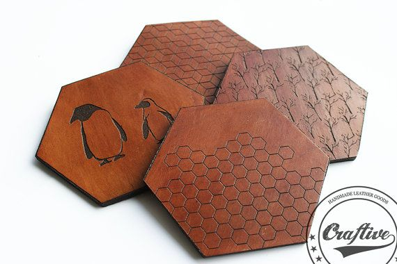 Hexagon Coasters,Leather Geometric Coasters,Set of 4 hexagonal,Honeycomb,Mug Rug,Penguins,trees,Winter Design Coasters,Made in Scandinavia   {Shipping}  **Normal Post ***NO... #honeycomb #penguins #trees