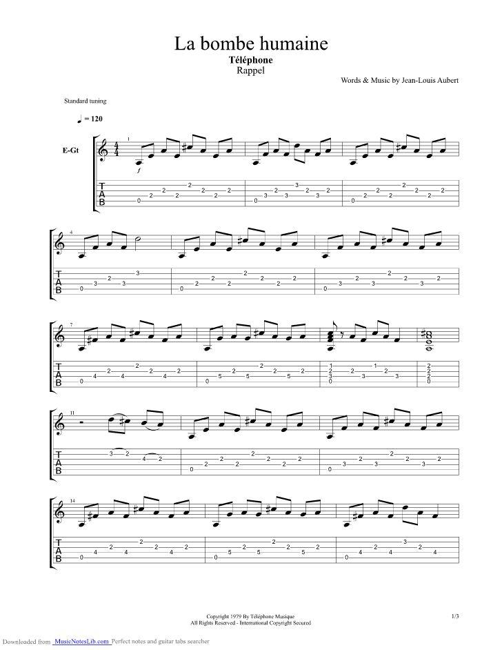 La bombe humaine guitar pro tab by Telephone @ musicnoteslib.com