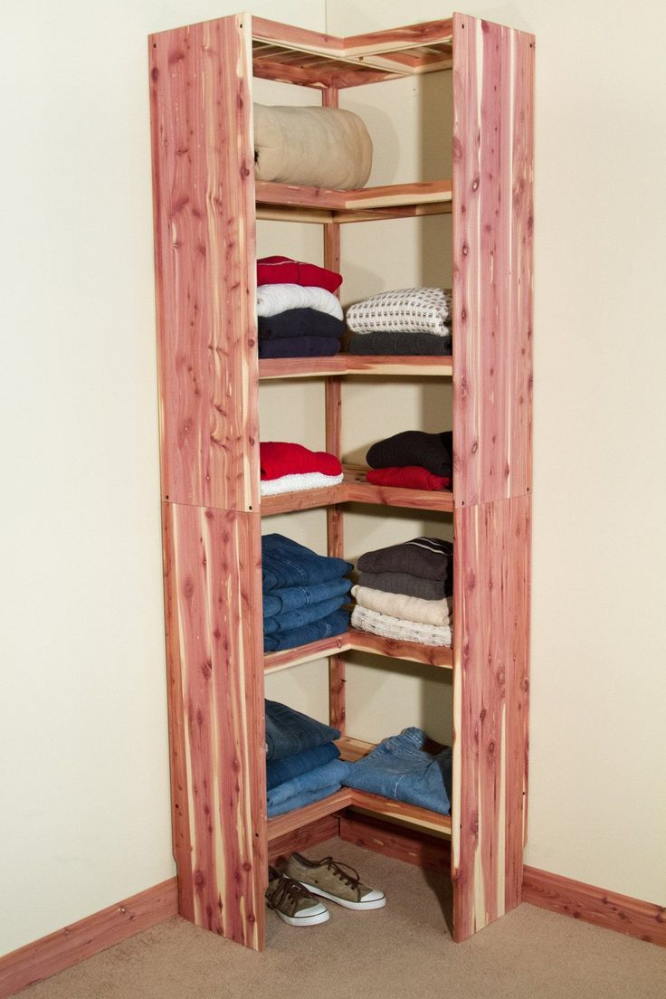 Solid aromatic red cedar organization system for your closet or kitchen pantry. Easy DIY assembly all wood corner shelving unit. #closetsystem